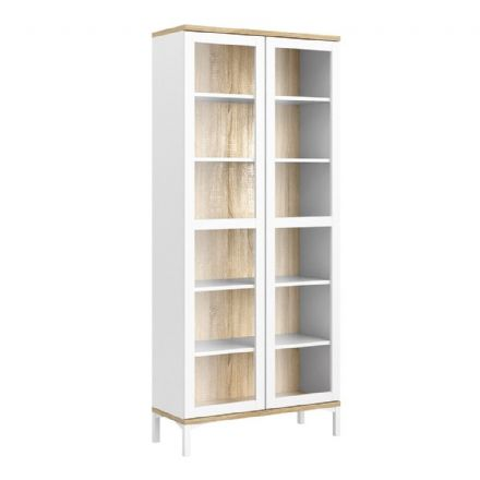 Roomers Display Cabinet with Glass Doors in White